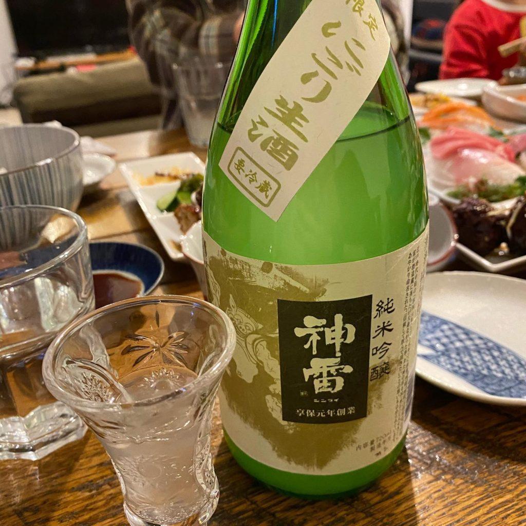 """日本酒でおうち晩酌 """"純米吟醸 神雷"""""""