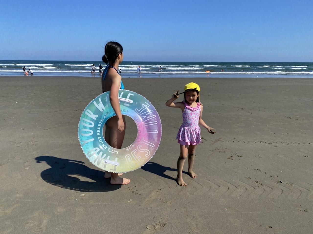 幼児連れで海水浴 本須賀海水浴場